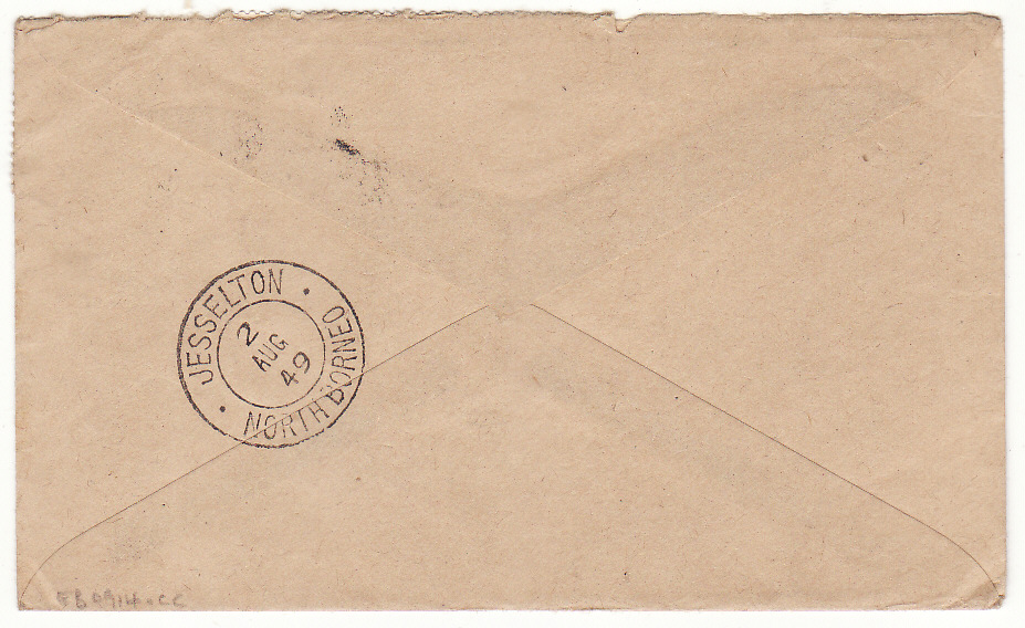 [20384]  NORTH BORNEO - GB…1949 CROWN COLONY from BEAUFORT..  1949 (Aug 2)