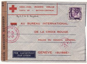 NETHERLAND EAST INDIES - SWITZERLAND…WW 2 CENSORED to RED CROSS..