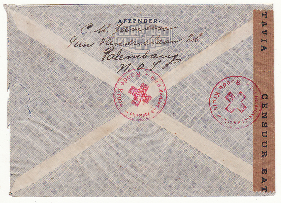 [20391]  NETHERLAND EAST INDIES - SWITZERLAND…WW 2 CENSORED to RED CROSS..  1940 (Oct 18)