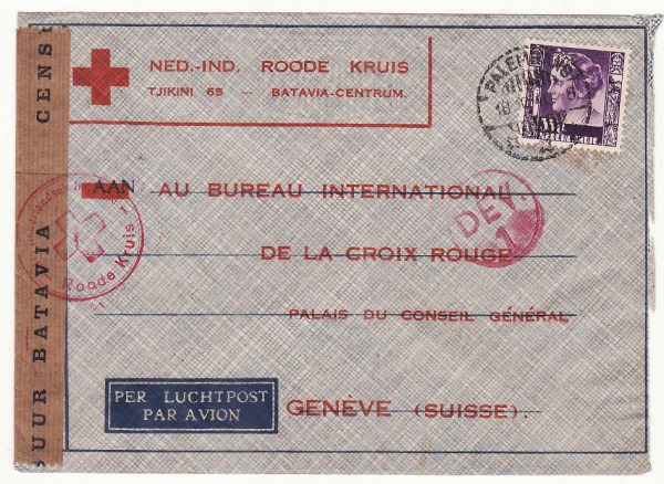 NETHERLAND EAST INDIES - SWITZERLAND…WW 2 CENSORED to RED CROSS..