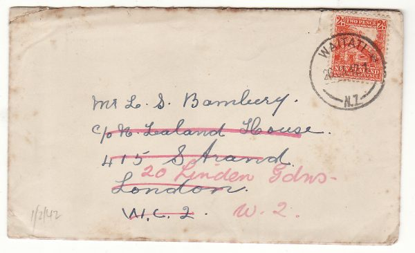 """NEW ZEALAND - GB....WW2 to N.Z. HOUSE with LETTER & CHUCHILL """"V"""" CALENDAR... .."""