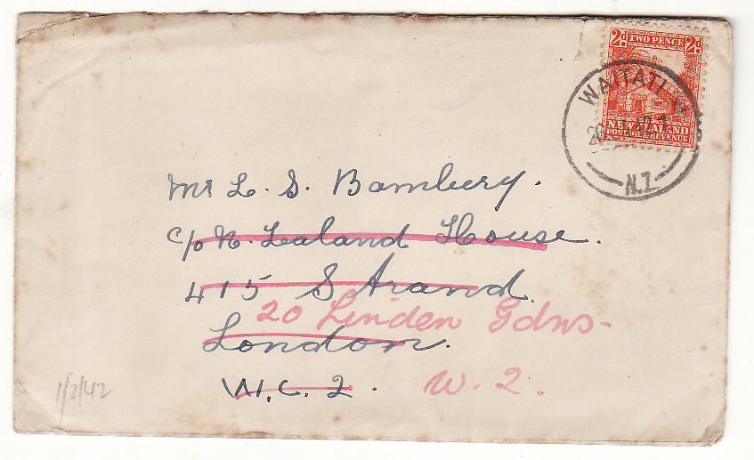 "[20394]  NEW ZEALAND - GB....WW2 to N.Z. HOUSE with LETTER & CHUCHILL ""V"" CALENDAR... ..   1942 (Jan 26)"