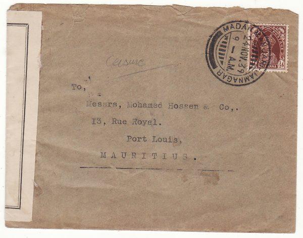 INDIA - MAURITIUS…WW2 CENSORED on ARRIVAL..