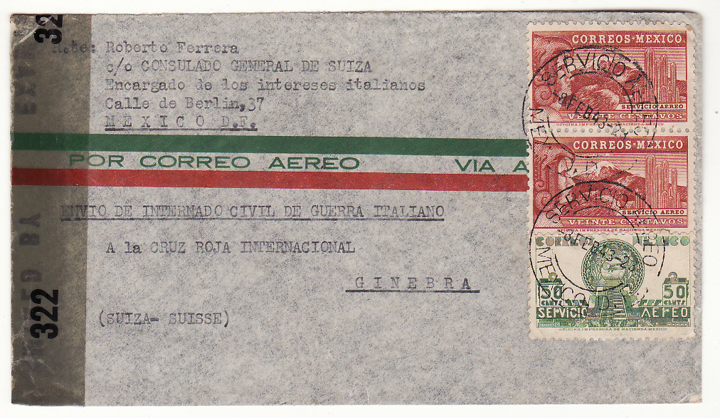 [20389]  MEXICO - SWITZERLAND …WW2 SWISS CONSUL for ITALIAN CIVIL INTERNEES  1943 (Feb 8)