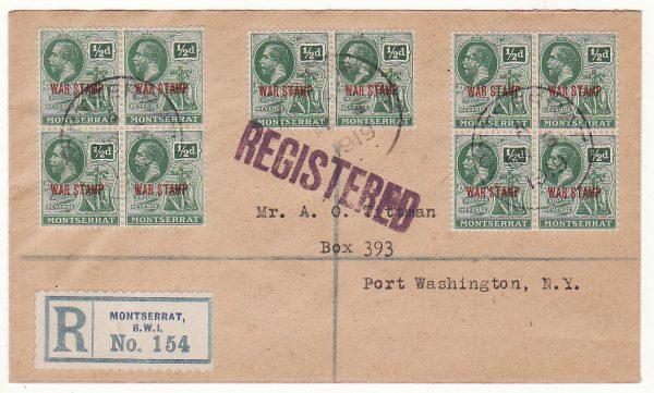 MONTSERRAT - USA…1919 REGISTERED WAR TAX..