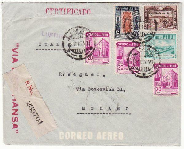 PERU - ITALY..WW2 SCARCE LATI MAIL