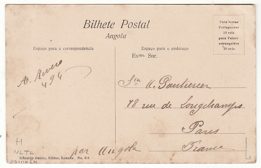 [20414]  PORTUGUESE COLONIES - FRANCE….S. THOME e PRINCIPE….  1908 (Oct 7)