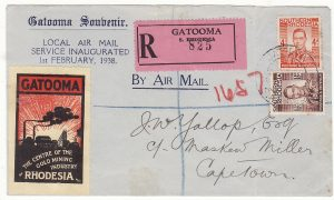 RHODESIA - SOUTH AFRICA..FIRST DAY LOCAL AIR MAIL REGISTERED & with GOLD MINING PROMOTIONAL LABEL..
