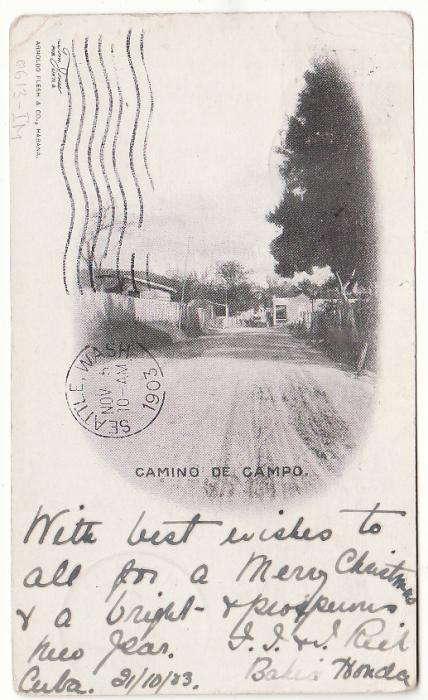 [20417]  CUBA - TASMANIA..1903 DESTINATION MAIL..  1903 (Oct 22)