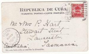 CUBA - TASMANIA..1903 DESTINATION MAIL..