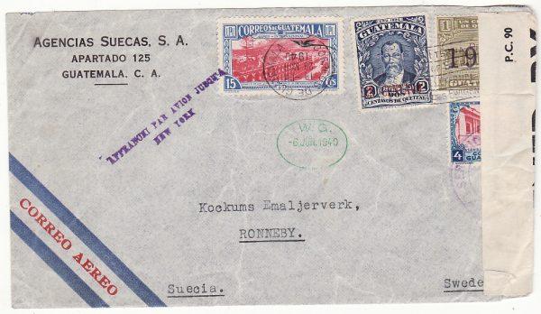 "GUATEMALA - SWEDEN..WW2 CENSORED JUSQU""A AIRMAIL.."