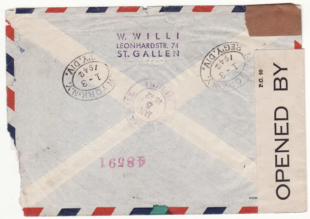 [20422]  SWITZERLAND - USA…WW2 REGISTERED AIRMAIL CENSORED in BERMUDA ...   1941 (Dec 1)