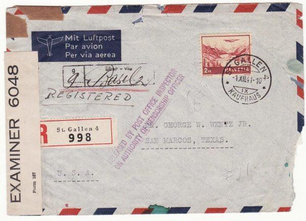 SWITZERLAND - USA…WW2 REGISTERED AIRMAIL CENSORED in BERMUDA ...