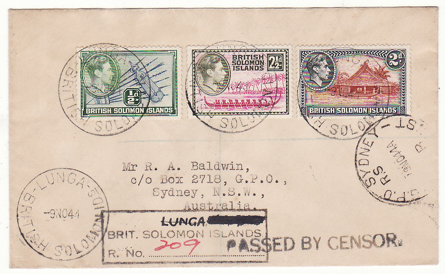 [20426]  BRITISH SOLOMON ISLANDS - AUSTRALIA … WW2 CENSORED with MODIFIED REGISTRATION HANDSTAMP ..  1944 (Nov 9)
