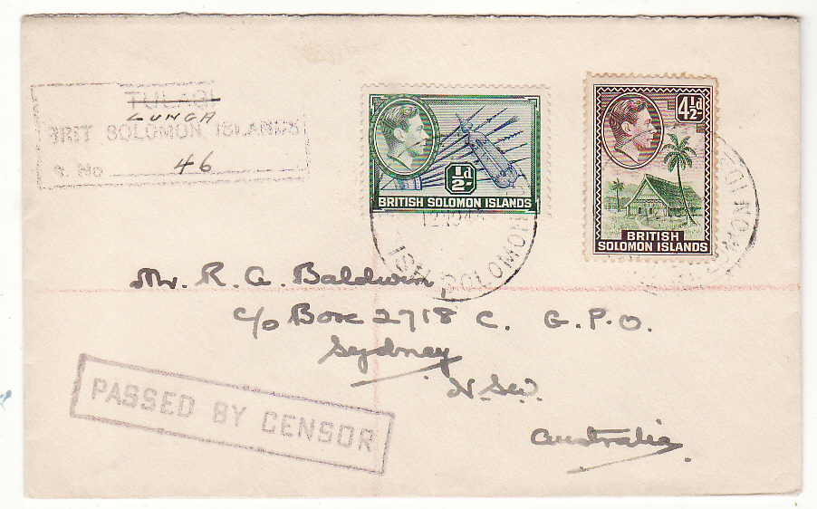 [20427]  BRITISH SOLOMON ISLANDS - AUSTRALIA … WW2 CENSORED with MODIFIED REGISTRATION HANDSTAMP ..  1943 (Nov 12)