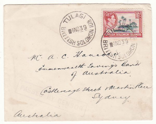 BRITISH SOLOMON ISLANDS - AUSTRALIA … WW2 EARLY CENSORSHIP ..