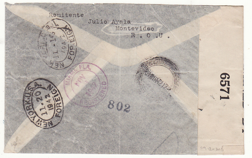 [20428]  URUGUAY - FRANCE…REGISTERED CENSORED CONSULAR AIRMAIL RETURNED..  1942 (Nov 10)