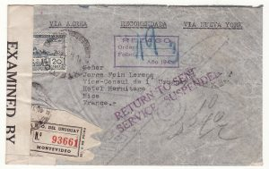 URUGUAY - FRANCE…REGISTERED CENSORED CONSULAR AIRMAIL RETURNED..