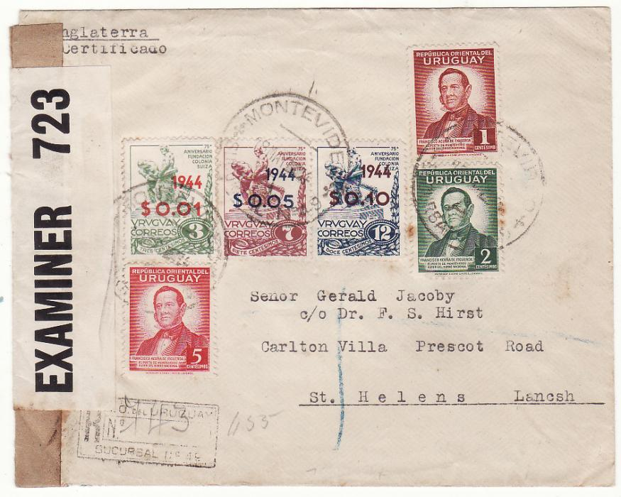 [20435]  URUGUAY - GB…WW2 CENSORED REGISTERED ..  1944 (May 17)
