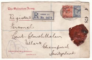 G B - SWITZERlAND… WW1 SALVATION ARMY REGISTERED & with WAX SEAL CENSORSHIP..