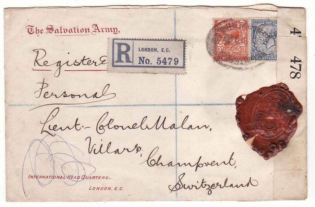 [20323]  G B - SWITZERlAND… WW1 SALVATION ARMY REGISTERED & with WAX SEAL CENSORSHIP..  1916 (Dec 18)