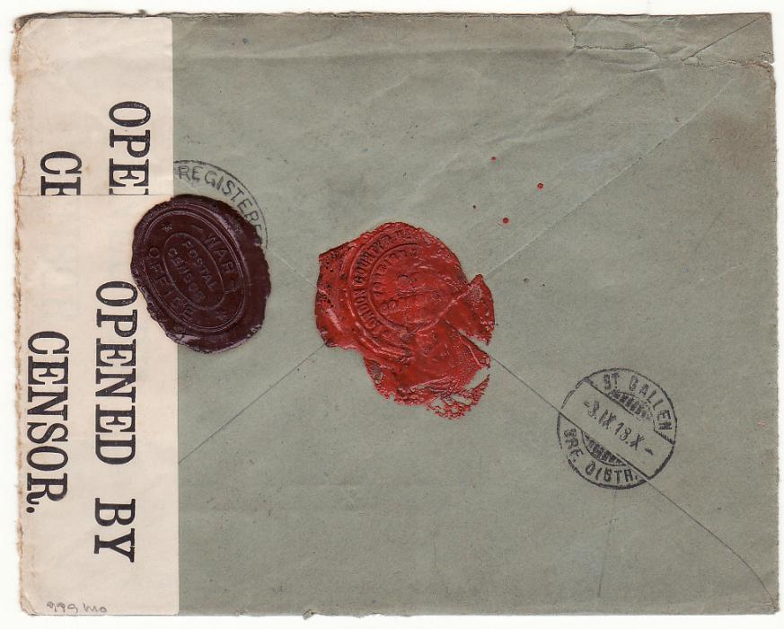 [20324]  G B - SWITZERlAND… WW1 REGISTERED CENSORED with WAX SEAL CENSORSHIP..  1918 (Aug 28)