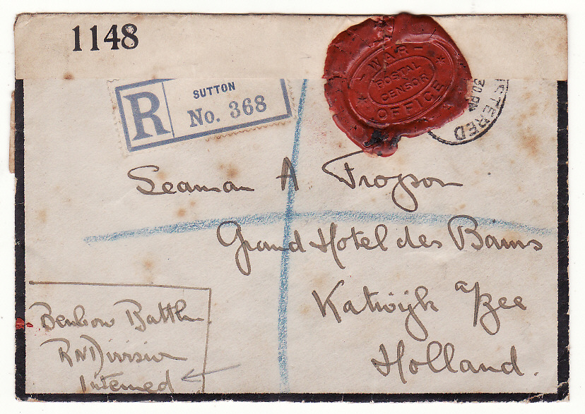 [20325]  GB - NETHERLANDS… REGISTERED CENSORED with WAX SEAL CENSOR to ROYAL NAVAL DIVISION POW…  1916 (Sep 25)