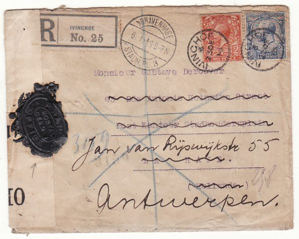 G B - NETHERLANDS… WW1 REGISTERED CENSORED & with WAX SEAL CENSORSHIP..