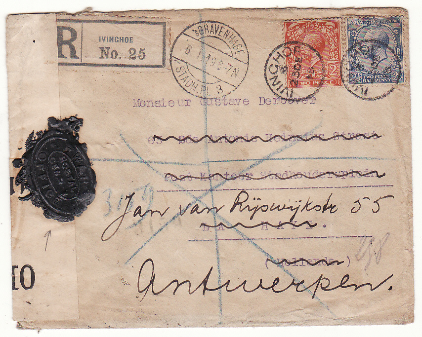 [20326]  G B - NETHERLANDS… WW1 REGISTERED CENSORED & with WAX SEAL CENSORSHIP..  1918 (Dec 23)