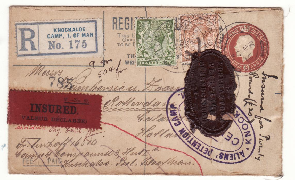 [20327]  GB -HOLLAND..WW1 REGISTERED INSURED POW MAIL from I.O.M.  1916(Mar 30)
