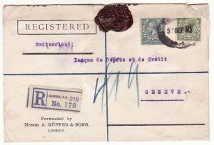 G B - SWITZERLAND… WW1 REGISTERED & with WAX SEAL CENSORSHIP..