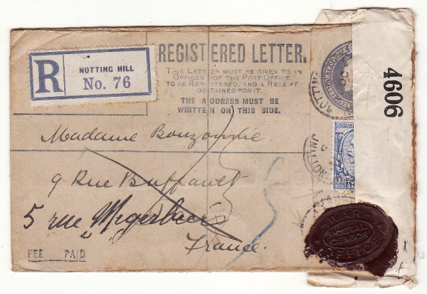 G B - FRANCE… WW1 REGISTERED & with WAX SEAL CENSORSHIP..