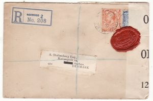 G B - DENMARK… WW1 REGISTERED & with WAX SEAL CENSORSHIP..