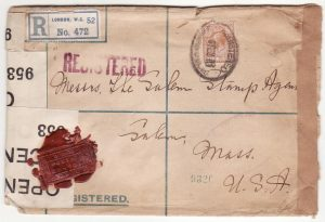 G B - USA… WW1 REGISTERED & with 2 STYLES WAX SEAL CENSORSHIP..