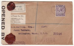 G B - USA… WW1 REGISTERED & with WAX SEAL CENSORSHIP..