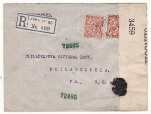 GB - USA...WW1 REGISTERED with DIVIDED CIRCLE HAND STAMP & SEALED with WAX CENSOR SEAL...