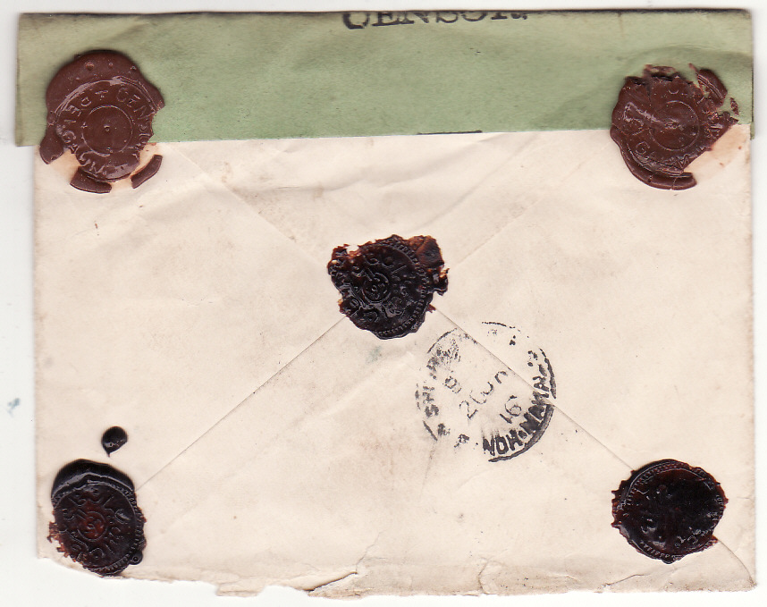 [19377]  PORTUGUESE INDIA - INDIA… WW1 REGISTERED CENSORED with BELGUAM CENSOR WAX SEAL ...  1916 (Jan)