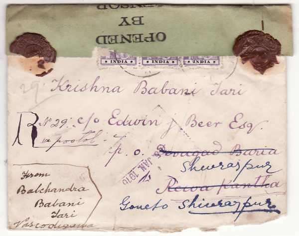 PORTUGUESE INDIA - INDIA… WW1 REGISTERED CENSORED with BELGUAM CENSOR WAX SEAL ...