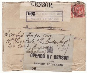 GB - SWITZERLAND..WW1 RETURNED TO SENDER
