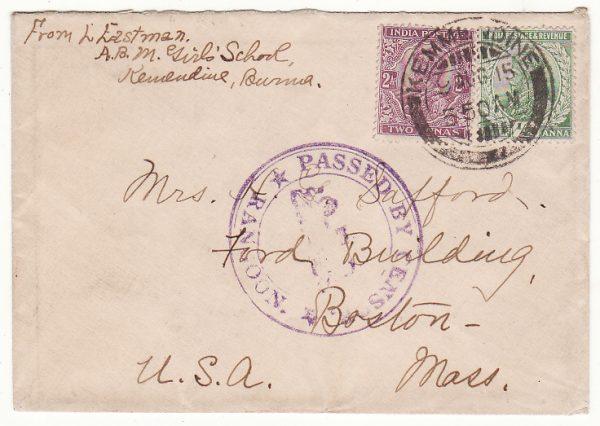 BURMA - USA …WW1 from KEMMENDINE to BOSTON CENSORED at RANGOON…