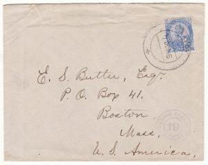 BURMA - USA …WW1 to BOSTON from TAVOY CENSORED at BOMBAY…
