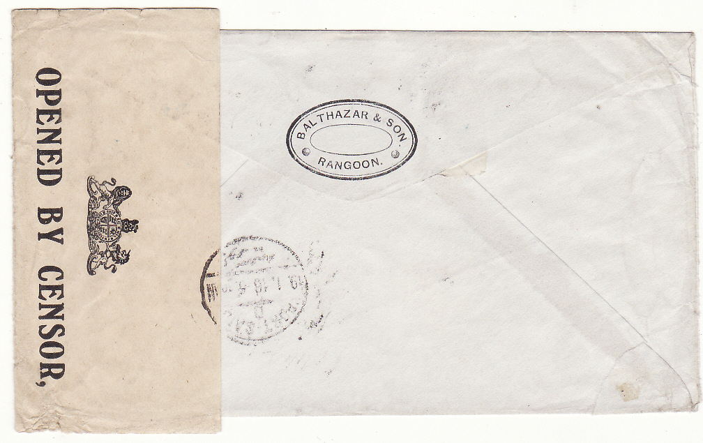 [20459]  BURMA -EGYPT - GB …WW1 CENSORED to PORT SAID & FORWARDED…  1915 (Dec 2)