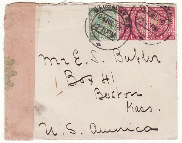 BURMA -USA …WW1 CENSORED …