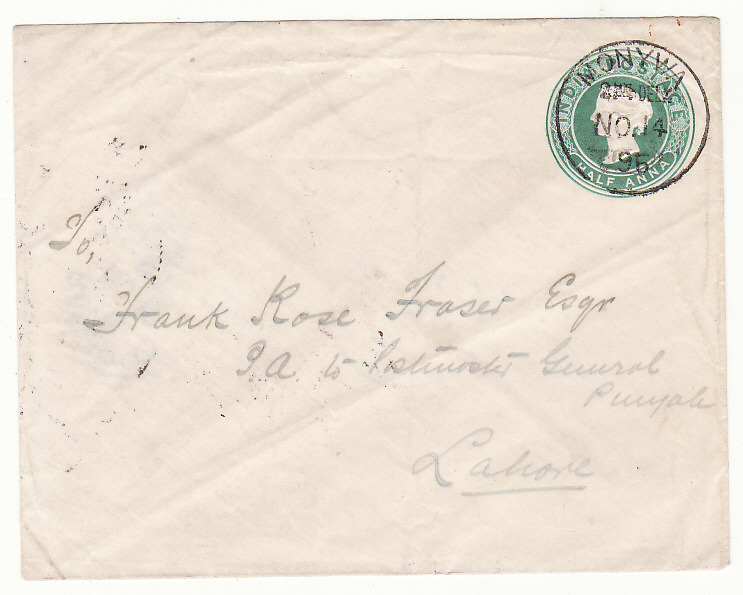 [20478]  BURMA - INDIA …INDIAN STATIONARY from MONYWA...  1896 (Nov 14)