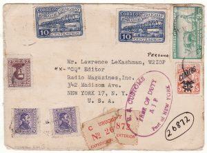 URUGUAY - USA… REGISTERED PICTORIAL DONALD DUCK & GOOFY DISNEY QSL CARD ..