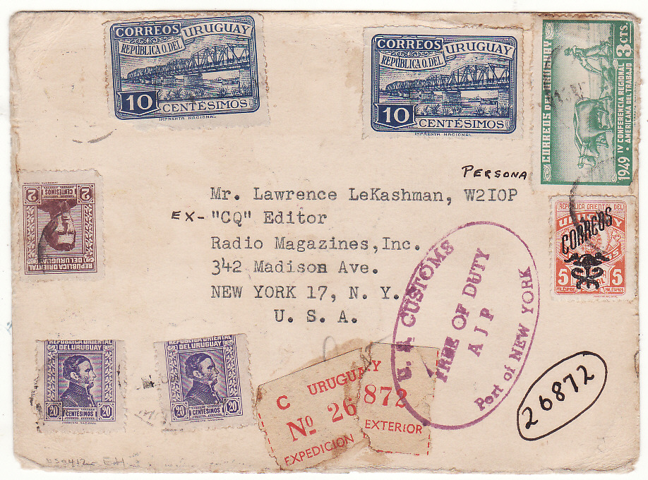 [20434]  URUGUAY - USA… REGISTERED PICTORIAL DONALD DUCK & GOOFY DISNEY QSL CARD ..  1949 (Nov 5)