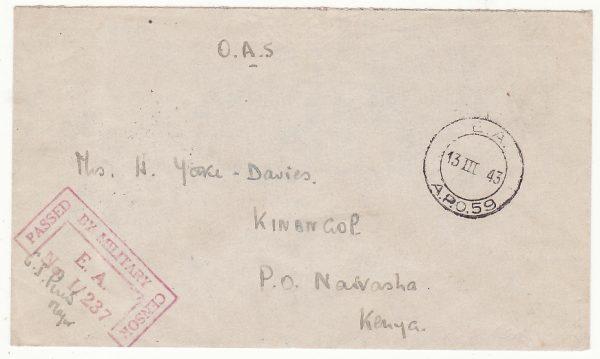 MADAGASCAR - KENYA …WW2 BRITISH CENSOR
