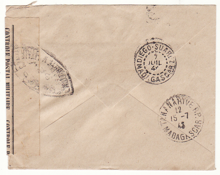 [20486]  MADAGASCAR…WW2 FRENCH CENSOR on AIRGRAPH ENVELOPE..  1943 (Jul 9)