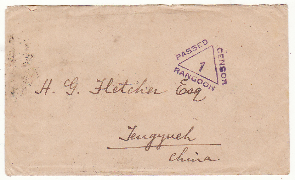 [20483]  BURMA - CHINA…WW1 CENSORED..  1916 (Nov 22)