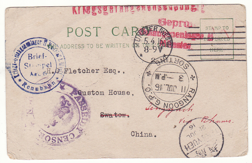 [20484]  GERMANY - CHINA - BURMA - CHINA…..WW1 RENNBAHN RACECOURSE CAMP POW FORWARDED & RE-ROUTED via BURMA..  1916 (Apr 5)